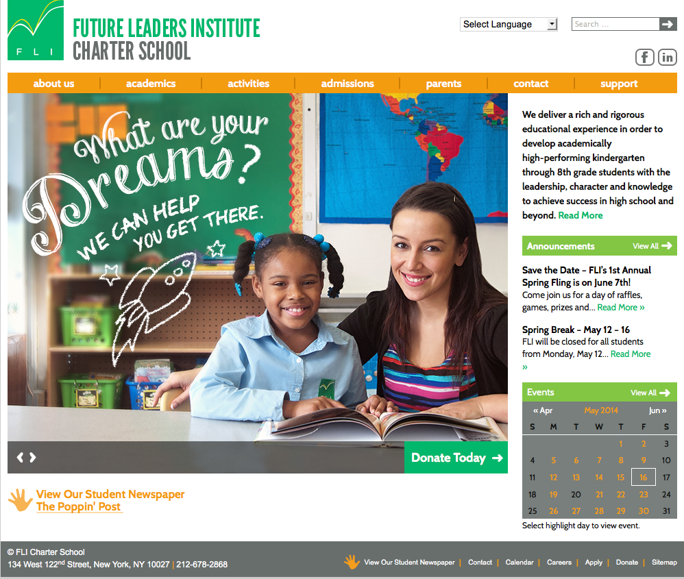 A new web presence for charter school in harlem